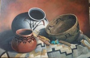 Wakima Basket and Grey Blanket by N. Gail Garrett