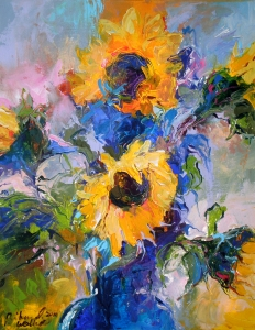 Sunflowers In Blue Vase  Richard Wallich